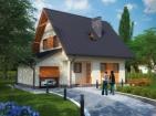 Проект уютного дома с подвалом, мансардой и гаражом